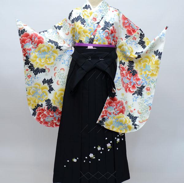 着物袴セット ジュニア用へ直し144cm~150cm ANEN 日本製 白地の着物 袴は海外 卒業式にどうぞ! 新品 (株)安田屋 j447693341