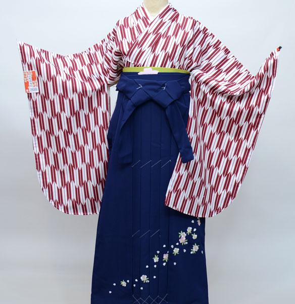 着物袴セット ジュニア用へ直し144cm~150cm 矢羽柄 袴色変更可能 卒業式にどうぞ! 新品 (株)安田屋 t608451577