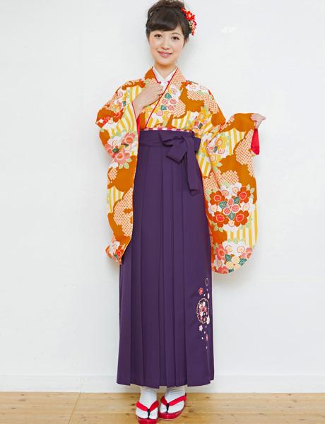 二尺袖着物袴フルセット 夢千代 2018年最新モデル 着物丈は着付けし易いショート丈 卒業式に 新品(株)安田屋 l407441669