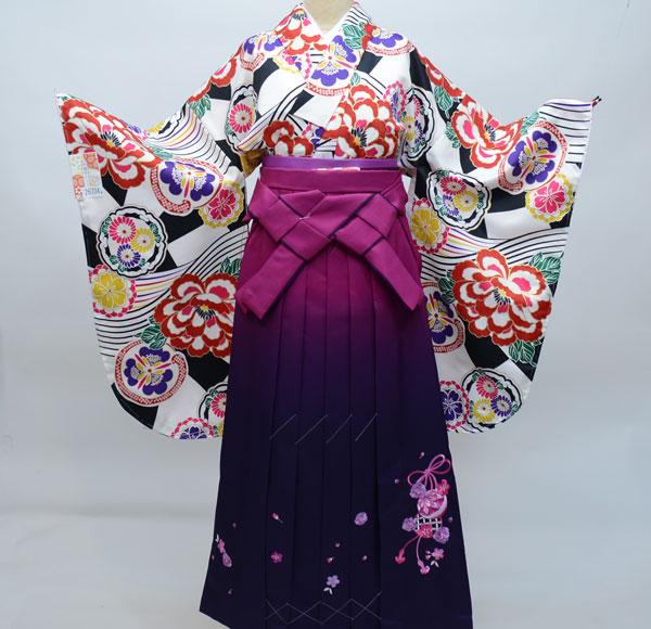 二尺袖着物袴フルセット 和遊日 ぼかし刺繍袴 卒業式に 新品 (株)安田屋 m226432785