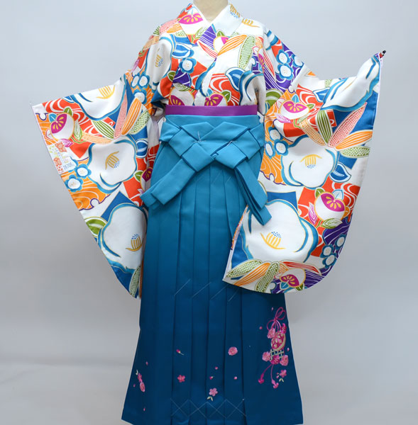 着物袴セット ジュニア用へ直し144cm~150cm 和遊日 ぼかし刺繍袴 新品(株)安田屋 x512344007