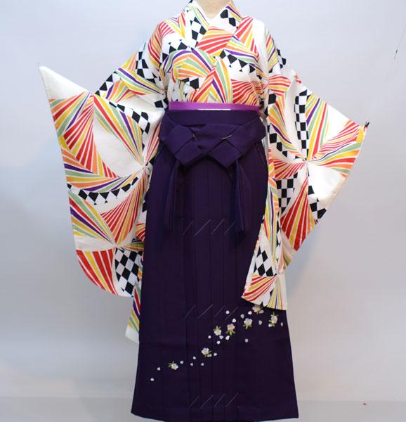 二尺袖着物袴フルセット 豪華絢爛 着物丈は着付けし易いショート丈 袴変更可能 卒業式に 新品(株)安田屋 m273043137