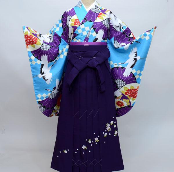 着物袴セット ジュニア用へ直し135cm~143cm 鶴 新品(株)安田屋 w210759107