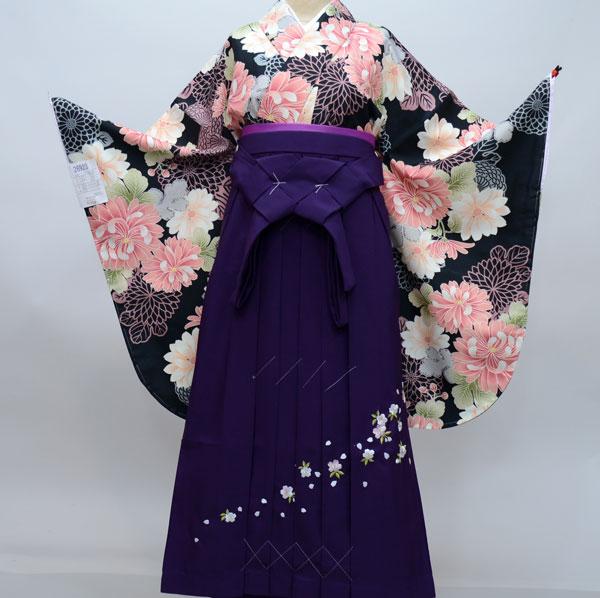 二尺袖 着物袴フルセット 百花斉放 着物は黒地 卒業式 新品(株)安田屋 j551447977