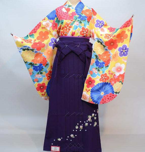 二尺袖 着物 袴フルセット 千紫万紅 袴変更可能 着物丈は着付けし易いショート丈 新品(株)安田屋 b352897543