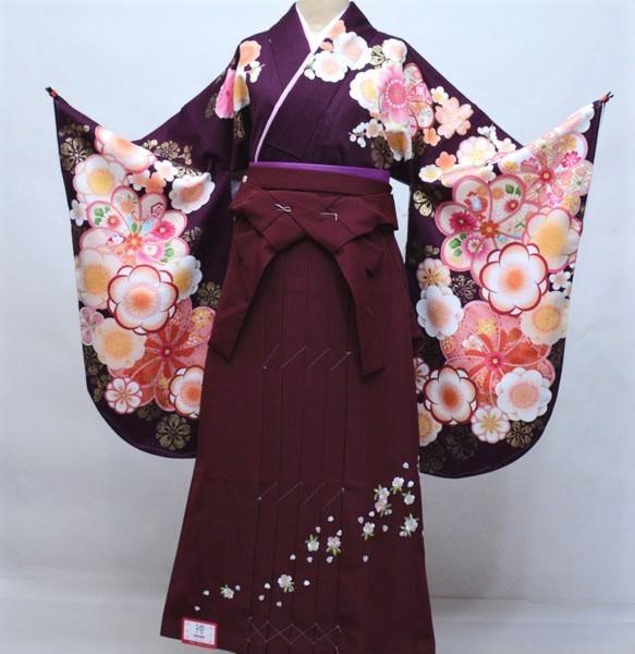 着物 袴セット ジュニア用へ直し 144cm~150cm From KYOTO 紫色 袴変更可能 卒業式 新品(株)安田屋 v658005425