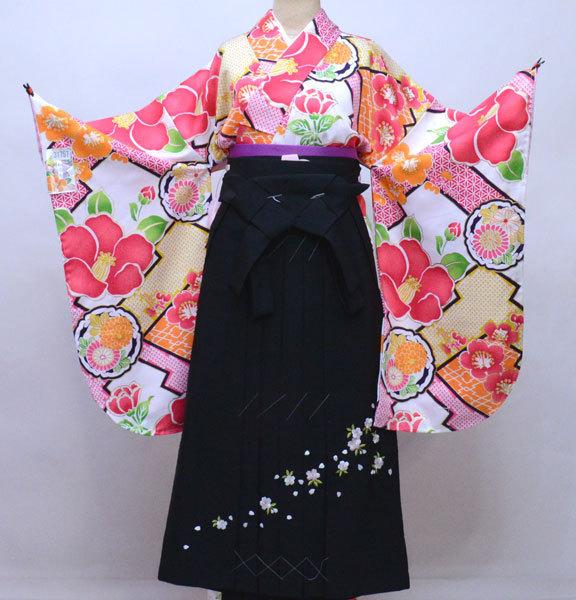 着物 袴セット ジュニア用へ直し 144cm~150cm 和遊日 黒地 卒業式に 新品 (株)安田屋 c764171811