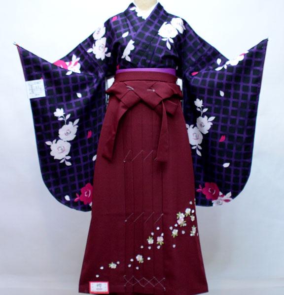 二尺袖 着物袴 フルセット 黒地 袴色選択可能 着物丈はショート丈 新品(株)安田屋 l580245717