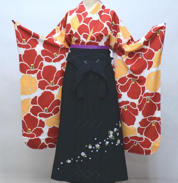 二尺三寸袖 着物 袴フルセット やや袖長 着物丈は着付けし易いショート丈 袴変更可能 卒業式 新品(株)安田屋 k445342309