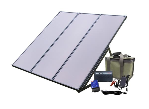 コールマン55Wソーラー発電キット PVS-55WBN-非常用ソーラー電源キット(バッテリー付き)・家庭用蓄電池・ソーラー発電・ベランダ・太陽光発電キット