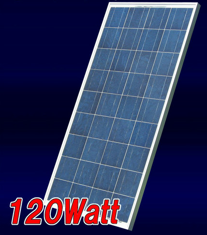 120W-12V 太陽電池 (ソーラーパネル):多結晶型 ベランダ太陽光発電・家庭用蓄電池充電