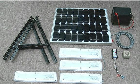 最新デザインの ソーラーLED照明キット45W:LED-4個・ベランダ太陽光発電・家庭用蓄電池:自然エネルギー・安川商事-エクステリア・ガーデンファニチャー