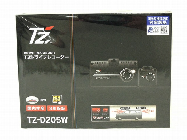 未使用 【中古】 未使用 TZ TZ-D205W ドライブレコーダー 2.4インチ 2カメラ 前後同時録画 ドラレコ カー用品 O4860979