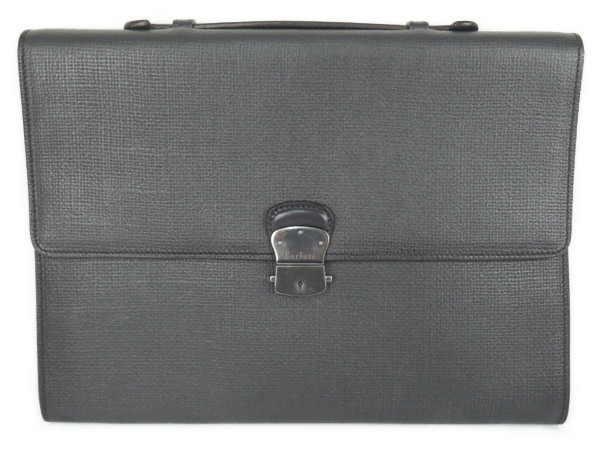【中古】 良好品 Berluti ベルルッティ メンズ レザー ビジネスバッグ ブリーフケース 書類鞄 黒 ブラック T2183618