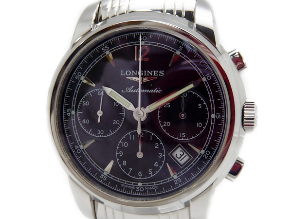 【中古】 良好 ロンジン LONGINES サンティミエ クロノグラフ L2.752.4 メンズ 腕時計 自動巻き 黒文字盤 T2579482