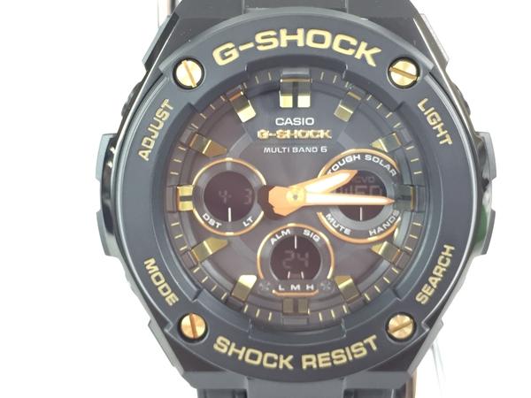 未使用 【中古】 CASIO G-SHOCK G-STEEL カシオ ジーショック GST-W300GL-1AJF 電波ソーラ クォーツ ブラック 時計 メンズ T3898533