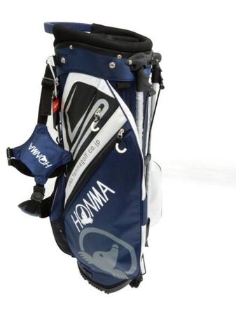 未使用 【中古】 本間ゴルフ CB-1811 キャディーバッグ 9型 47インチ スタンド 付き 軽量 ネイビー系 ゴルフボール 付き Y3510623
