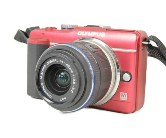 【中古】OLYMPUS オリンパス PEN Lite E-PL1s レンズキット RED カメラ ミラーレス一眼 レッド S3449554