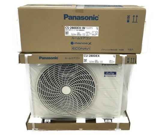 未使用 【中古】 Panasonic CS-280DEX-W ホワイト エオリアEXシリーズ エアコン 10畳用 ナノイーX 自動排出 スマホ遠隔操作 N5079122