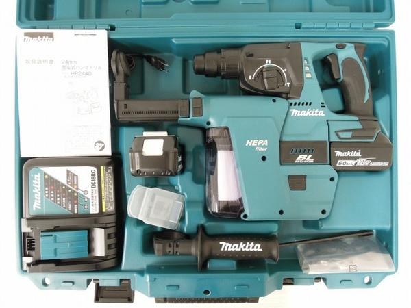 未使用 【中古】 未使用 makita HR244DRGXV マキタ 24mm 充電式 ハンマドリル 6.0Ah 集じんシステム DX01 電動工具 O3560927