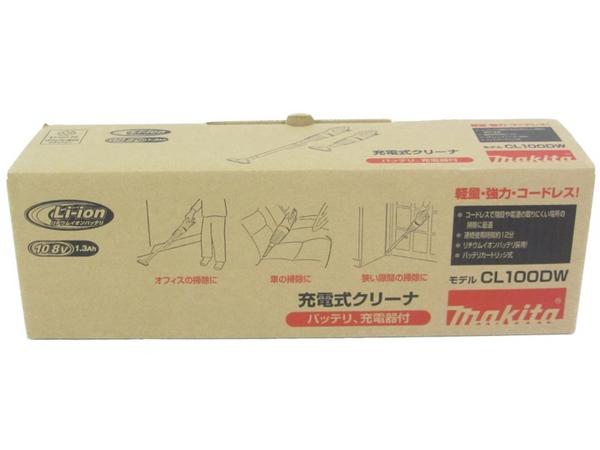 未使用 【中古】 makita マキタ CL100DW 充電式 掃除機 コードレス ホワイト系 軽量 クリーナー N3910566