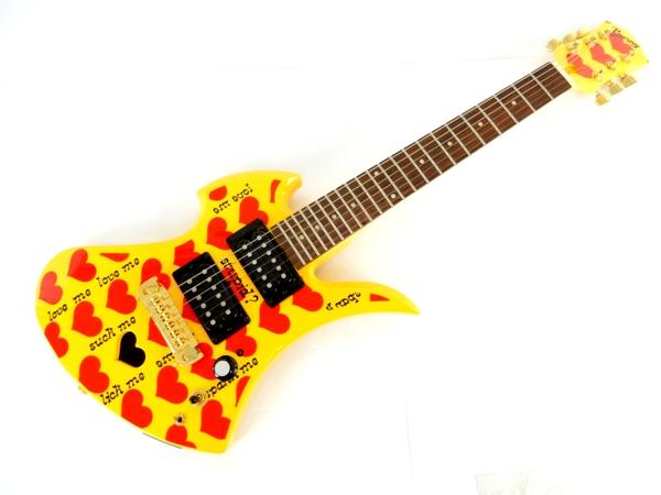 中古 BURNY バーニー YH-JR.2009 Heart Yellow アンプ内蔵 ミニ エレキ ギター 楽器 Y3463369