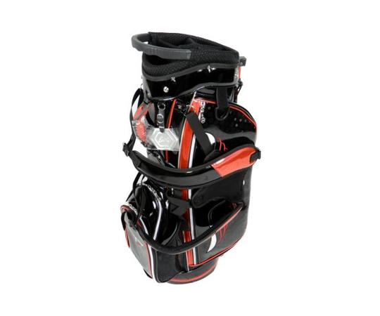 未使用 【中古】 EDEL GOLF スタンド キャディ ゴルフ バック 黒 赤 フード有 キャディバッグ  K3823532