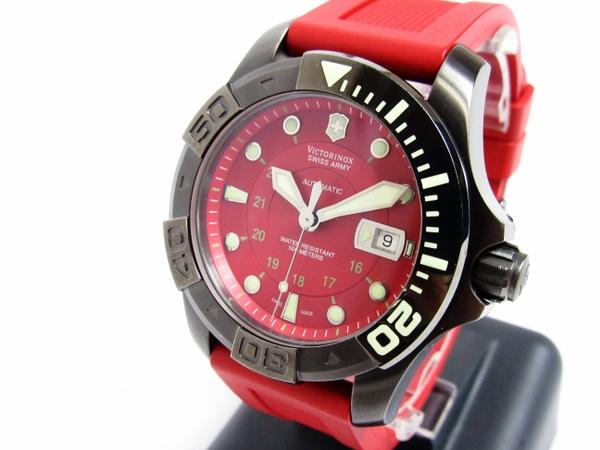 【WEB限定】 【】 良好品 スイスアーミー ビクトリノックス ダイバー 500M 241353 メンズ 腕時計 自動巻き 裏スケ 赤文字盤 T2670593, 三重県 d868ba92