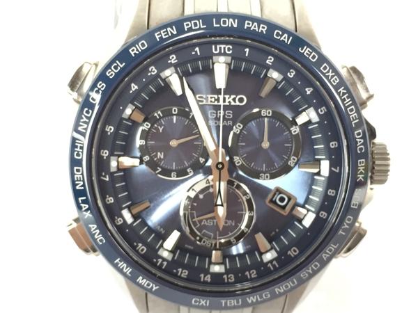 美品 【中古】 SEIKO セイコー アストロン 8X82-0AB0 SBXB007 チタン シルバー 電波 ソーラー時計 黒文字盤 腕時計 メンズ T3893533