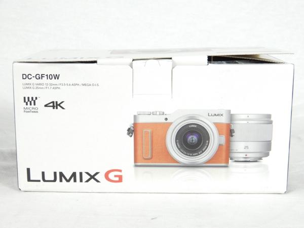 未使用 【中古】 Panasonic パナソニック DC-GF10W LUMIX G 4K デジタル ミラーレス 一眼 カメラ ダブル レンズ キット オレンジ K3896035