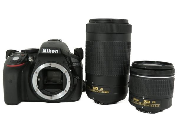 美品  Nikon ニコン 一眼レフ D5300 D5300WZ3 ダブルズームキット ブラック デジタル カメラ AF-P 18-55mm f/3.5-5.6G VR 70-300mm f/4.5-6.3G ED VR S3707867:ReRe(安く買えるドットコム)