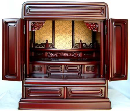 丸型 紫檀調上置仏壇 高55.5cm