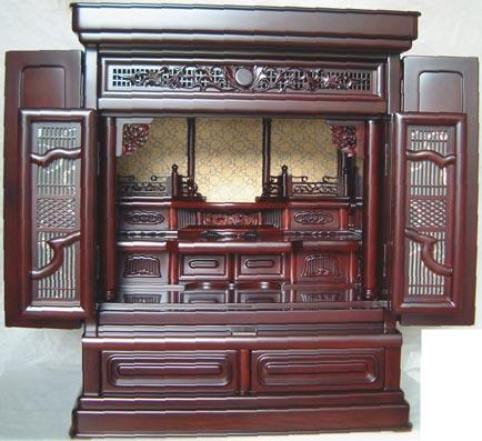 欄間障子付 紫檀調上置仏壇 高62cm