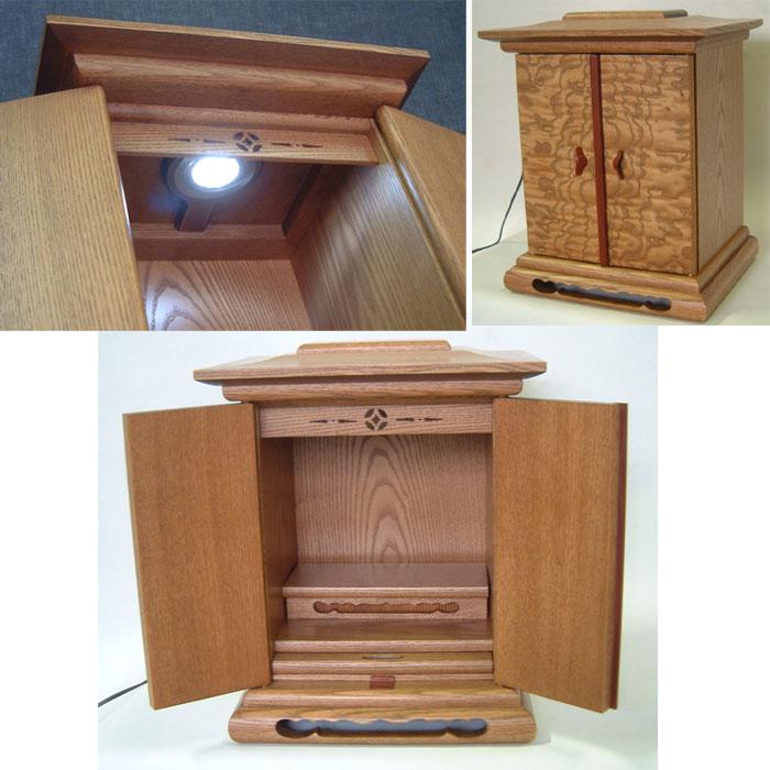 ☆木目の美しいタモ材厨子型仏壇 ライト付