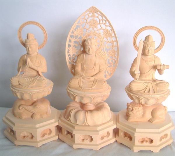 ☆桧製 釈迦三尊像 仏像 供養