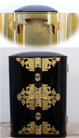 ☆丸厨子1.0尺 黒塗金具打内部本金箔押 巾広