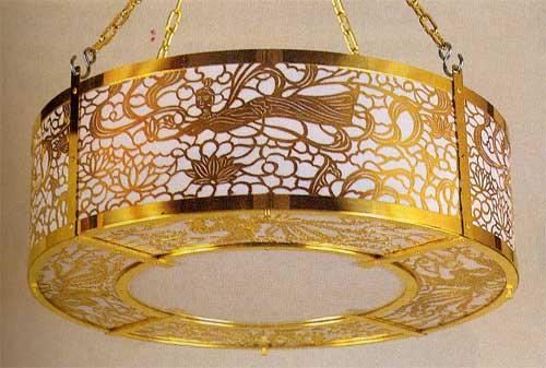 客殿用丸型照明灯39cm 真鍮製金メッキ