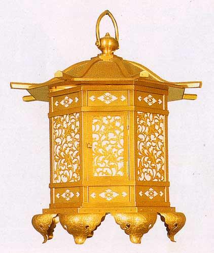 八角猫足吊灯篭(対)21cm 銅地消しメッキ