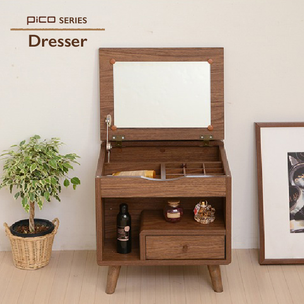 Dresser Dressing Table Make Box Stand Cosmetics Mirror Compact Storing North Europe Country Wooden