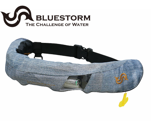 BLUESTORM BSJ-5520RS ジーンズ柄(Jeans) 膨脹式 ライフジャケット 腰巻式 (国土交通省型式承認品・TYPE-A) ウエストタイプ