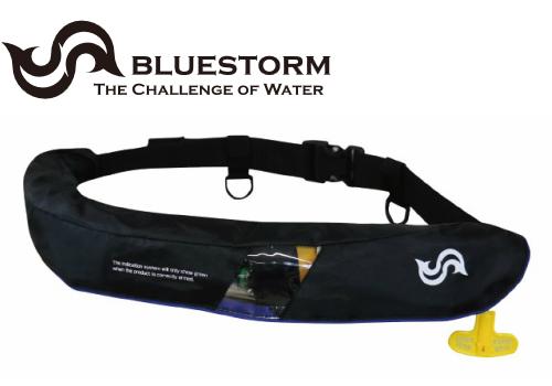 BLUESTORM BSJ-5520RS ブラック 膨脹式 ライフジャケット 腰巻式 (国土交通省型式承認品・TYPE-A) ウエストタイプ