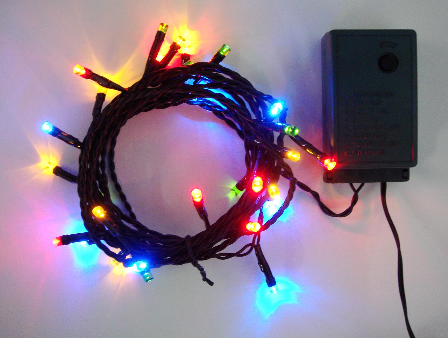 100球4色MIX 点滅室内用LEDイルミネーションライト/4色ミックス/点滅/ストレートコード/グリーンコード/コントローラー付き (コロナ産業)