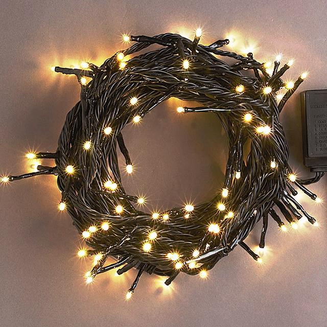 100球電球色 連結専用-電源部別売LEDイルミネーションライト/LED電球色/ブラックストレートコード/(クロスライセンス品)