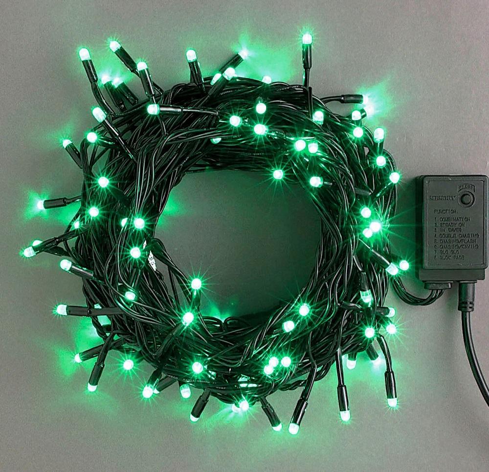 コントローラー付き200球 緑色 点滅LEDイルミネーションライト/LED緑色/ブラックストレートコード/コントローラー点滅/コネクター付/(スタンダード品)