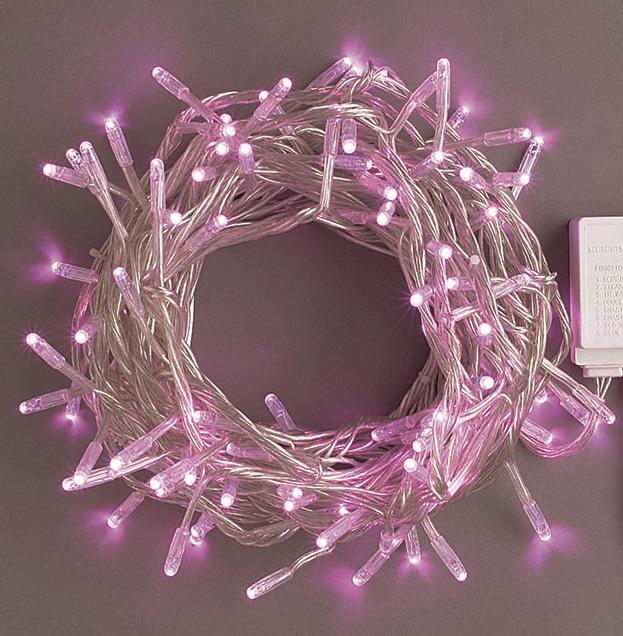 コントローラー付き100球 ピンク色 点滅LEDイルミネーションライト/LEDホワイト・LEDイエロー色/シルバーストレートコード/コントローラー点滅/コネクター付/(スタンダード品)