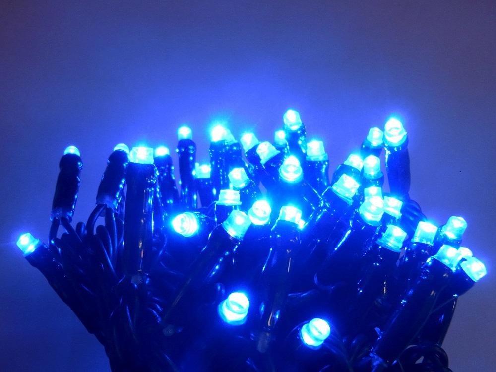 LED100球グリッターライト青色 常点灯LEDイルミネーションライト/LEDブルー色/ブラックストレートコード/常点プラグコード付