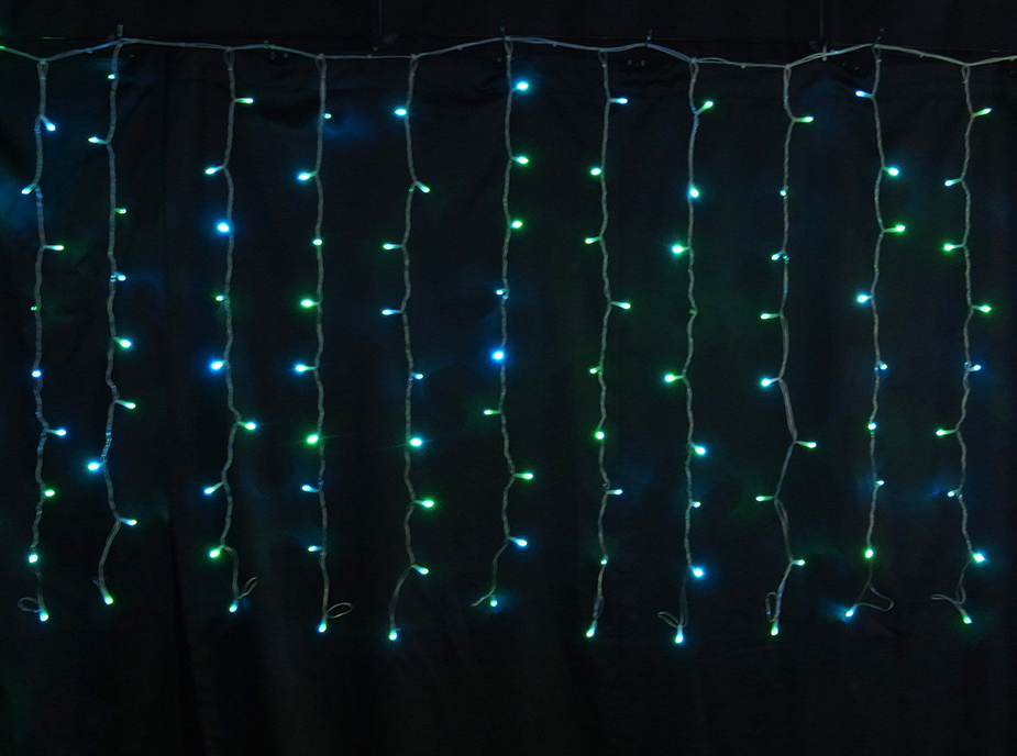 144球自動点滅 黄緑・青電源部付ミルキーウェイカーテンLEDイルミネーションライト(天の川)/シルバーコード/LED黄緑・青色