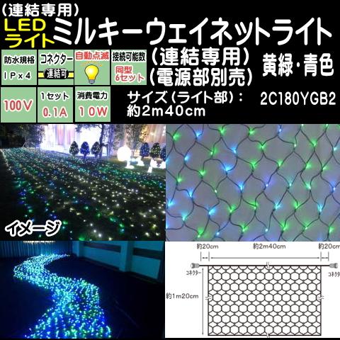 連結専用2.4mネットライト 黄緑・青ミルキーウェイネットLEDイルミネーションライト(天の川)/ブラックコード/LED 黄緑・青電源コード別売