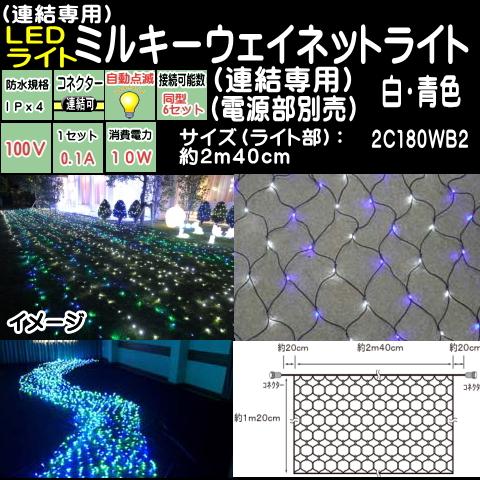 連結専用2.4mネットライト 白・青ミルキーウェイネットLEDイルミネーションライト(天の川)/ブラックコード/LED 白・青電源コード別売