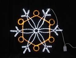 コントローラー付きLEDライトモチーフ 点滅LEDスノーフレーク白・黄色